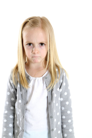 blond girl with a sad hurt frustrated expression