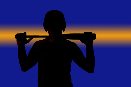 Power stripe silhouette baseball player holding bat
