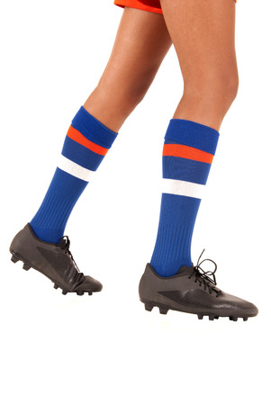 soccer cleats: white background soccer football legs socks cleats Stock Photo