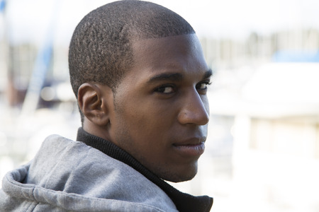 African American male model looking back glaring photo