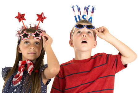 children looking up at fireworks fun glasses photo