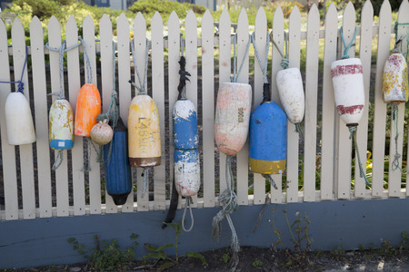 Pacific oceanside seascape of buoys on fence photo