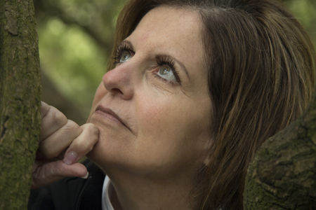 beautiful green eyed middle age woman portrait