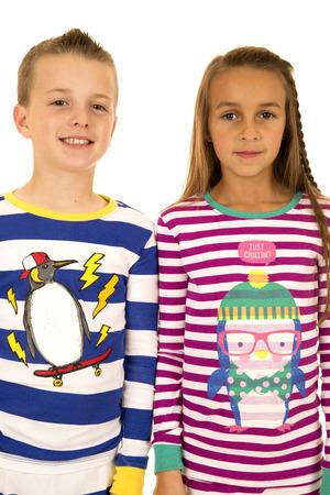 Christmas pajamas portrait of girl and boy photo