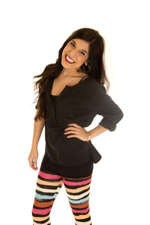 leggings: Attractive tan woman wearing striped leggings smiling