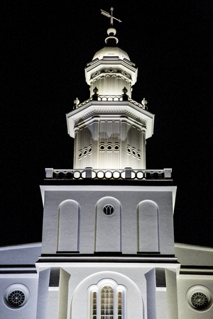 lds: Beautiful white religeous building at night weathervane