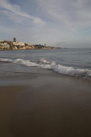 california beach: Vertical view sand waves California beach landscape Stock Photo