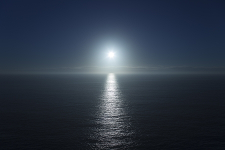 Blue sunset and white sun on a sea horizon  photo