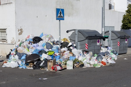 Seville, Spain - February 6, 2013: A strike by refuse collectors in the southern Spanish city of Seville has left vast piles of rubbish building up on the city's pavements.