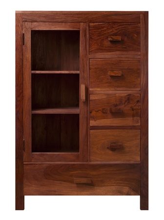 handcrafted: This walnut cabinet with glass doors is a classic style furniture created handcrafted Stock Photo