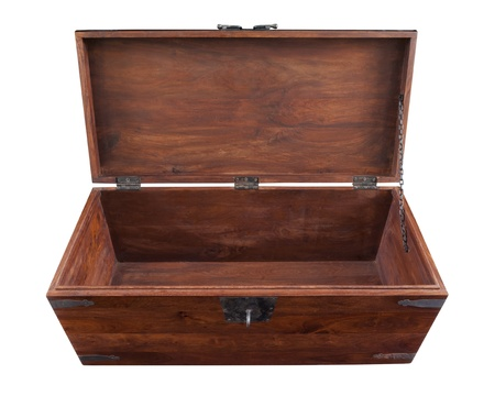A handmade walnut chest open in frontal high angle view