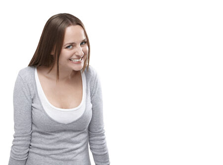 Funny flirty woman looking at camera isolated on a white background with copy space. Stock Photo