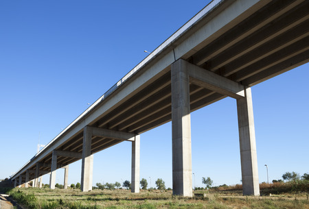 centenary: Bridge pillars under the V Centenary Bridge in Seville, Andalusia, Spain. Stock Photo