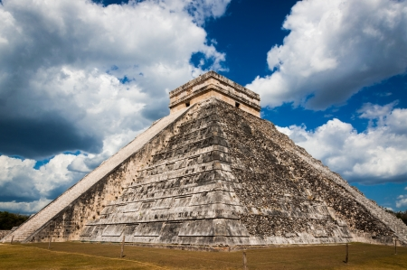 Chichen-Itza El Castillo Mayan Themple of Kukulcan on Yucatan peninsula in Mexico. One of the most impressive and best preserved ruins in Mexico. photo