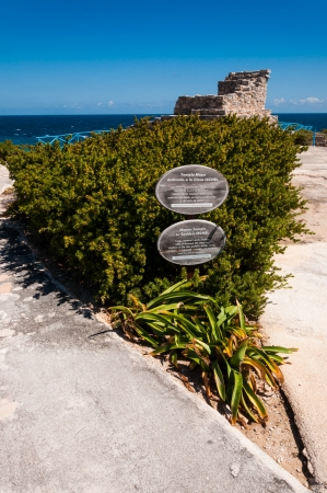 mujeres: Mayan temple dedicated to goddess Ixchel on Isla Mujeres Yucatan peninsula Mexico on Punta Sur the most southern point on the island. Its very beautiful and there are many iguanas here.