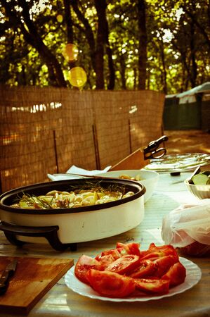 Cooking outdoor in a campsite Stock Photo - 14491954