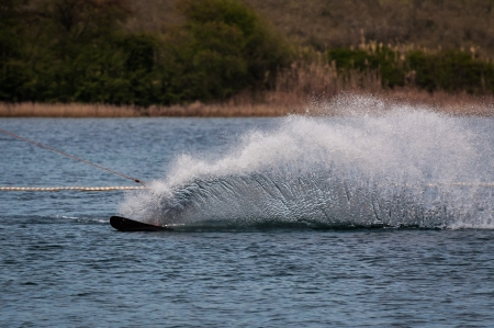 water skiing: Water skiing in cable park