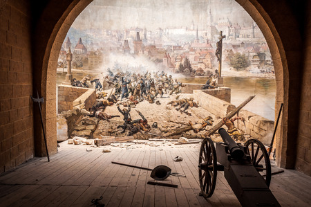 Battle on Charles Bridget, Prague, Czech Republic Stock Photo