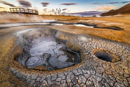 bubble acid: Hverarondor Hverir geothermal area in the north of Iceland near Lake Myvatn Stock Photo