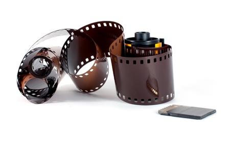SD-geheugenkaart te reflecteren op filmrol.