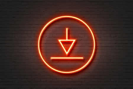 neon light icon download arrow Stock Photo