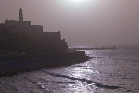 view of the old port in Tel Aviv at sunset. Israel