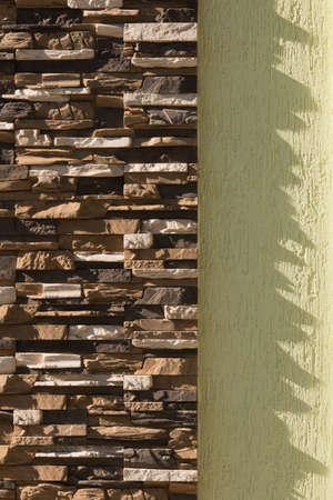 brick wall texture and white wall. Urban background Standard-Bild