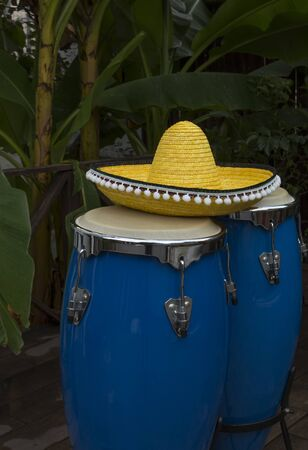 two blue congas drum and yellow sombrero on a background of palm trees
