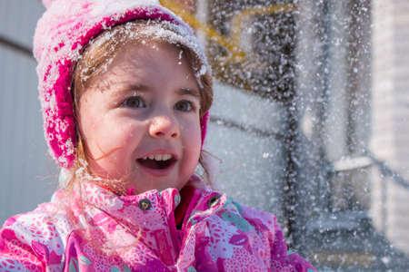 emotional portrait of cute little girl in winter Standard-Bild