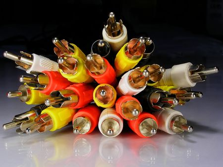 varicoloured audio and video connectors Stock Photo - 3749217