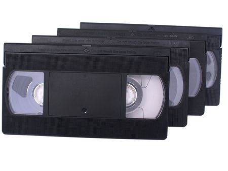 Retro VHS video tapes, isolated in white 版權商用圖片