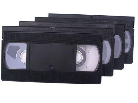 videokassette: Retro VHS-Videokassetten, vereinzelt in Wei�