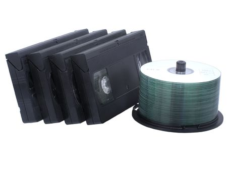 videocassette: Retro VHS video tapes and CD stack