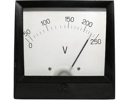 old-fashioned electric voltmeter           photo