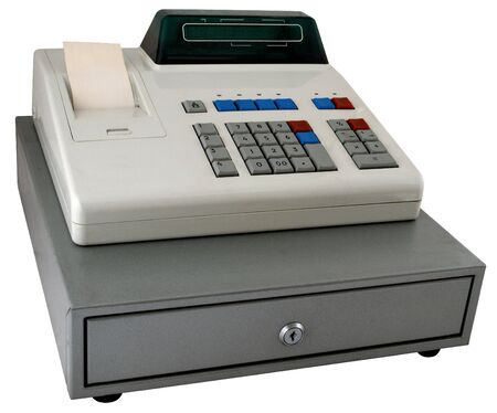 The cash register isolated with the display photo