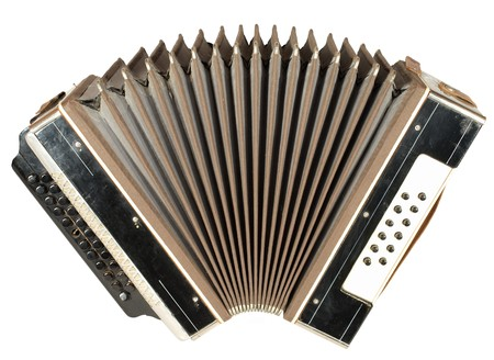 A very old accordion, one button is not