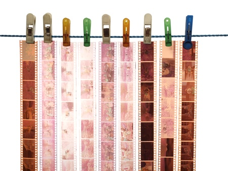 negatives: Strip of 35mm film, color negatives, isolated on white