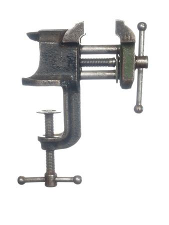 vise: El tornillo de banco de edad, aislado en un fondo blanco Foto de archivo