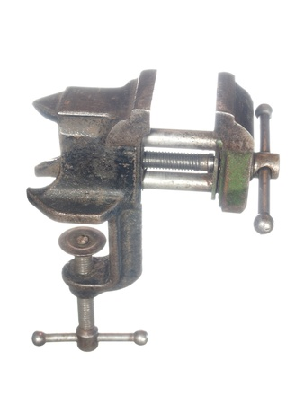 vice grip: The old bench vise, isolated on a white background