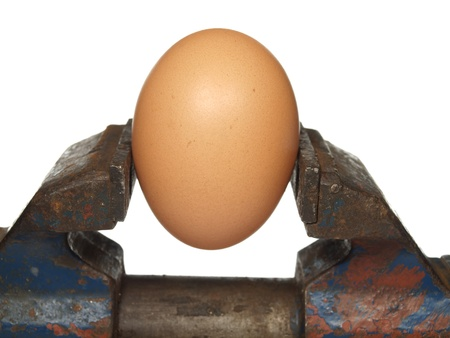 clamped: Egg is clamped in the old vice, isolated on a white background
