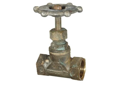 Old bronze water faucet isolated on a white background. Stock Photo