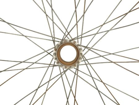 velocipede: Part of an old bicycle wheel, isolated on white background.