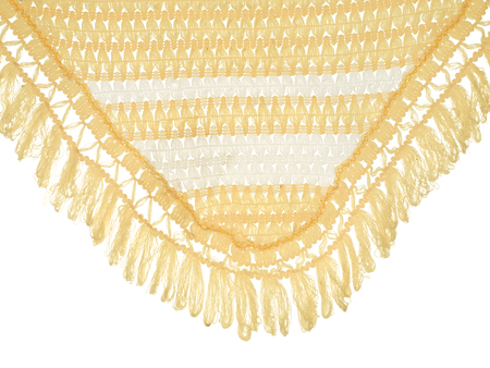 fringe: Part of an old tablecloth with fringe isolated on white background.
