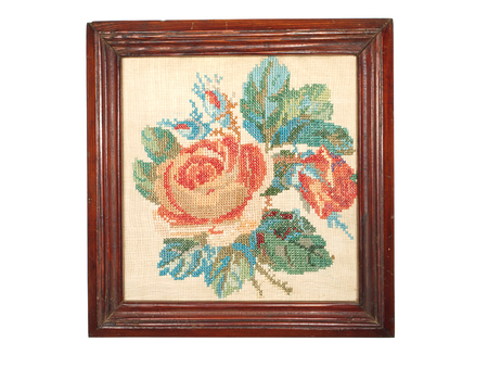 stitchery: Vintage embroidery handmade wooden frame isolated on white background.