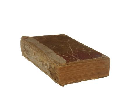 Zeer oud en versleten boek geïsoleerd op een witte achtergrond. Stockfoto
