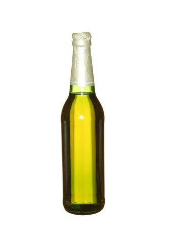 Sealed beer bottle on green background. Foto de archivo