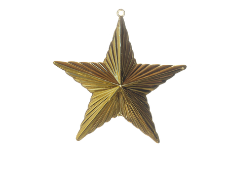 Golden Christmas Star isolated oh white background.