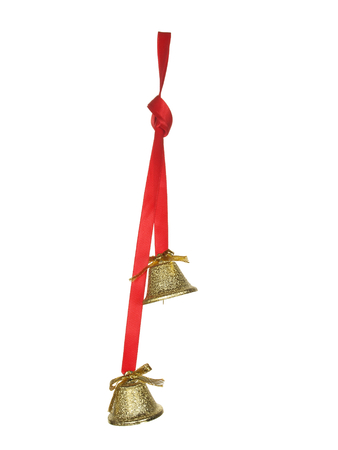 Two golden bells on a white background.