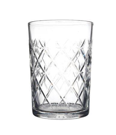 Empty crystal glass with white background.
