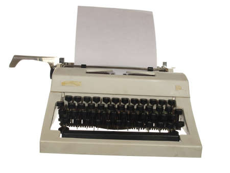 Vintage typewriter with Russian font isolated on white background Banco de Imagens